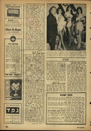 העולם הזה - גליון 1079 - 4 ביוני 1958 - עמוד 17 | נערת אקמן. חידו ש ב שטח האופנה הכניסה חברת חנויו ת הכל־בו אקמן, שהזמינה מועמדות מכל הארץ להציג את מוצרי האופנה שלה. מתוך 954ה מו ע מדות נבחרו תשע, שהציגו ב אול