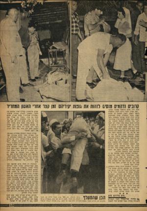 העולם הזה - גליון 1100 - 29 באוקטובר 1958 - עמוד 13 | קוונים נדהמים מנס ס לזהות את גוכות יקיריהם זמן קצו אחו׳ האסון המחריד בלמי היד, אולם הרגשת׳ שאנחנו עפים.״ דעה אחרת לגמרי היתד, לקצין המשטרה מיכאל ליטבק, הקצין