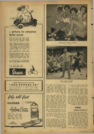 העולם הזה - גליון 1135 - 1 ביולי 1959 - עמוד 7   המשפחה על גלגלי ם - אינג ה ח לו ם קטנוע ווספה הוא, כידוע, כלי־הרכב העממי ביותר, מחירו 1470ל״י בלבד (אפשר בתשלומים עד שנה וחצי). דוגמניות ״משכית״ מתביישות -