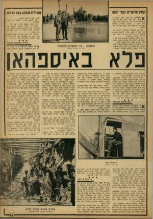 העולם הזה - גליון 1352 - 7 באוגוסט 1963 - עמוד 17 | קומץ ישראליים בעלי יוזמה מחוללים מהפכה בעיר פרסית יספהאן היא העיר היפה ביותר ביי • איראן. מזה שנה וחצי, היא גם העיר הרועשת ביותר. אין בה רחוב אחד שקט. בכל מקום