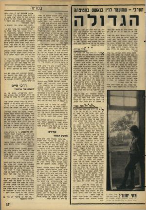 העולם הזה - גליון 1429 - 27 בינואר 1965 - עמוד 17 | במדינה הערבי -שהועמד לדיו כנאשם בחטינתה הגד ולה נעצר, ושהוא בכלל לא עתונאי אלא רמאי. אבל אז לא ידענו על זה. לא אני, ולא אחמד. וכך בא היום החמישי ההוא, שבו