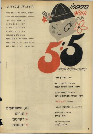 העולם הזה - גליון 1432 - 17 בפברואר 1965 - עמוד 4 | הצגות בכורה: גבעתיים ״שביט״ יו ם ו׳ 19.2ב־ 9.00 ירו שלים ״מיט של״ מוצ״ש 20.2ב־ 8.45 תל־אביב יום ״ מ וג ר בי ״ 21.2 ב־ 8. 3 0 יום ב, 22.2 יום >׳ 23.2 מוצ״ש