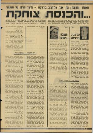 העולם הזה - גליון 1443 - 5 במאי 1965 - עמוד 6   האתגר והמעש: מה אמו אדחביב בווגיבה ־ וכיצד הגיבו ער הצעותיו ..והכנסת פצצת-השלום של בורגיבה היא פצצה מילולית. על כן חשוב לדעת מה בדיוק הצהיר, בכל אחת מן