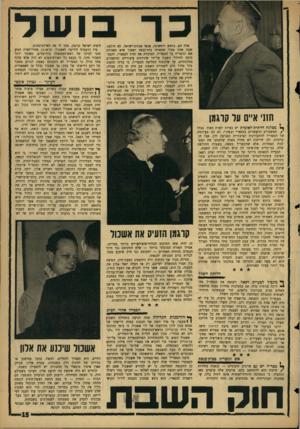 העולם הזה - גליון 1451 - 30 ביוני 1965 - עמוד 15 | דרישת המפד״ל לחקיקת חוק שבת ארצי עברה גילגו־לים רבים. … המפד״ל הינה, למעשה, פדראציה של סיעות. … אך המפד״ל לא הרפתה.