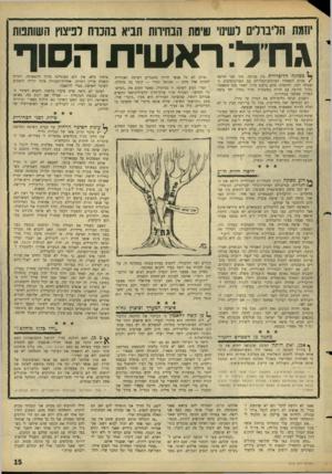 העולם הזה - גליון 1519 - 12 באוקטובר 1966 - עמוד 15   יוזמת הליברלים לשימי ש׳ם ת הבחירות תביא בהכוח לניצוץ השותטת גח ל: ר א שי ת הסוה מפלגה הדי: ליברלית אין מנוחה. תוך חצי תריסר /שנים התאחדו הציונים־הכלליים עם