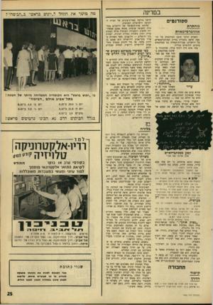 העולם הזה - גליון 1565 - 30 באוגוסט 1967 - עמוד 25 | במדינה ססודנטיס מ ח תי ת אוני ב ר סי ט אי ת השבוע הגיבו בזעם סטודנטים על תופעה חדשה בתכלית בחיים האוניברסמאיים של ירושלים: פעולות־הפחדה נגד סטודנטים ערביים,