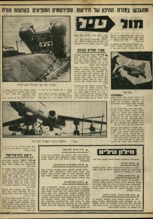 העולם הזה - גליון 1600 - 1 במאי 1968 - עמוד 21 | ומתגבש במזוח התיכון וגל הידיעות והפיוסומים המופיעים בעחונות הזוה 1111 פסו בסיני במלחמת־ששת־הימים. ישראל, לעומת זאת, הצליחה לשכנע את ארצות־הברית למכור לה טילים