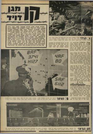 העולם הזה - גליון 1604 - 29 במאי 1968 - עמוד 22 | דויד : 1הגילוי הבקרה שבעורף. | | מכ שיר אלקטרוני שולח קרן בלתי־נראית אל נזיקלט ניסתר. חייל־אוייב חוצה את הקרן, גורם לאזעקת מיידית המ שודרת לחדר־בחדר־הבקרה