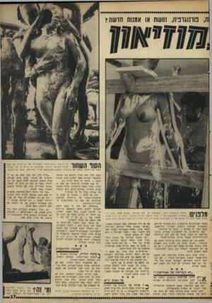 העולם הזה - גליון 1625 - 23 באוקטובר 1968 - עמוד 17 | ה, בוונוגוניה, זוועות או אגנות חושה? שו וושוווו תהליך־היציקה. החומר שבעזרתו הן מיוצרות יקר ביותר. הפסל לא התכוון למכור את בובותיו, הופתע משנתבקש על־ידי