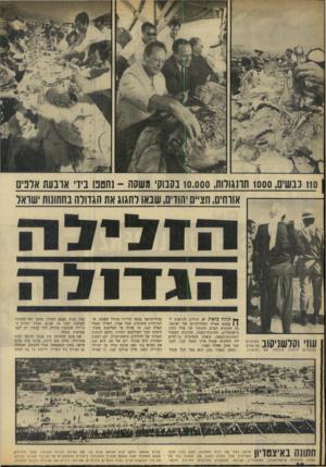 העולם הזה - גליון 1659 - 18 ביוני 1969 - עמוד 10 | 1101 ננשים 1000 ,תדנגולות 10.000 ,בסנוק׳ משסה -נחסכו ניד אדבעת אדנים אורחים, חציים יהודים, שבאו לחגוג את הגדולה בחתונות ישראל תונה כזאת לא יכולים להרשות.ל)