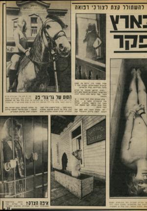 העולם הזה - גליון 1859 - 21 באפריל 1973 - עמוד 23   רהשתורר קצת ל צו רני רפואה ;אוץ אפילו במחיר חייו, ניתקה את עצמה הג׳ינג׳ית שופעת־החיים, הצבועה עתה ל בלונד, מבדידותה, חזרה תל־אביבה. ״רציתי להירפא מהמתח של