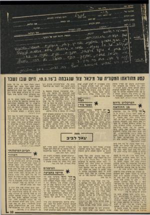 העולם הזה - גליון 1967 - 14 במאי 1975 - עמוד 77 | הידעה מם הודעתי סיי הבס הקייס ה״ם גאותיוון לט, י*־ם י סלים הלידה מס׳ הזהוח ,המקצוע מקיס העבודה מרמרי׳ דתתי יסטו קטע מהודאתו המקורית של מיכאל צוו שנגנתה ני