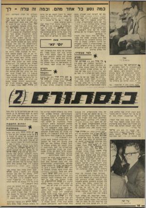 העולם הזה - גליון 1968 - 21 במאי 1975 - עמוד 14 | כמה נסע כל אחד מהם. וכמה זה עלה נסע יפה לחמישה ימים לאנגליה, מטעם המגבית היהודית המאוחדת. מחיר הטיסה לאנגליה 5,649.00 :ל״י׳ ודמי האש״ל שלו היו לפחות