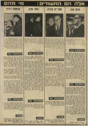 העולם הזה - גליון 1968 - 21 במאי 1975 - עמוד 22 | היה מעורה בכל שלבי השיחות עם ציוותו של קיסינג׳ר. שר־החוץ. … הנימוקים בעד הנימוקים ב/נד ידוע באי־האהדה שלו למישטר ניכסון- קיסינג׳ר. … למרות שאלון היה