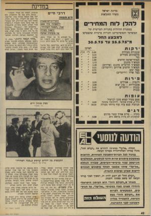העולם הזה - גליון 1969 - 28 במאי 1975 - עמוד 42   במדינה מדינת ישראל משרד החקלאות דרכי חיים להלן לוח המחירים במסגרת ההוזלות בחנויות השרשרת של הסופרסל והסופרמרקט וחנויות פרטיות שהצטרפו למבצע החל מ־ 25.5.75 עד