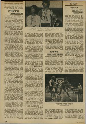העולם הזה - גליון 1998 - 17 בדצמבר 1975 - עמוד 29   ספורט מאמנה חסר־ד,אונים .״כעת צריכים להתחיל מחדש, ולמצוא ילדה אחרת.״ ההורים, מצידם, אומרים בחיוך :״או רית תמשיך לקפוץ ולרוץ, אבל הפעם היא תעשה זאת בצד,״ל, בלי