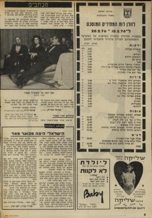העולם הזה - גליון 2007 - 18 בפברואר 1976 - עמוד 8 | מדינת ישראל משרד החקל או ת להלן רוח המחירים המוסכם (המשך מעמוד )7 מדוע אתם סבורים שלאד, רביו׳ ,אחרי חמש שנים של ניסיון כאשת־שגריר פעי לה, אינה יכולה למלא תפקיד