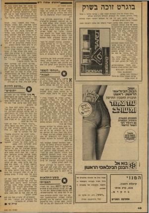 העולם הזה - גליון 2048 - 1 בדצמבר 1976 - עמוד 40   שנ פ לו לי ם בוגרט זוכה בשוק בחלל משרדו של איש העסקים הצעיר 28 צביקה קליפר — עומד תמיד ניחוחם המשכר של הבשמים הטובים והנודעים בעולם. צביקה קליפר, הוא דור שני