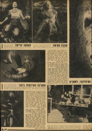 העולם הזה - גליון 2054 - 12 בינואר 1977 - עמוד 27 | אהבה תמימה אוהב הגורילה את הבלרינה דקת־הגיז־רה. ג׳סיקה לאנג, עברה במהלך ההסרטה תלאות שהיו, לדבריה, מרתיעים כל נערה מיחסי־מין עם זכר כלשהו. המיפלצתי, למסכים