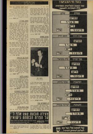 העולם הזה - גליון 2071 - 11 במאי 1977 - עמוד 10   בעדמ׳ ת צ בי עו? זוהי המסה הפוליטית האמיתית אלה העמדות לממשה מכתבים (המשך מעמוד )9 ציפור נפשו נפגעה כאשר שמע את הזמרת עליזה קאשי מתבטאת בגסות כלפי הערבים לפני