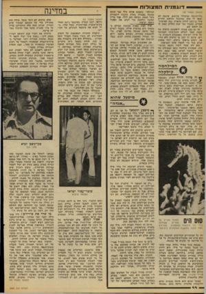 העולם הזה - גליון 2088 - 7 בספטמבר 1977 - עמוד 44 | דוגמנית המצולות (המשך מעמוד )43 גלויות-נוף ומי׳שרדי פירסום. פרנסה לא יצאה לו מזה. מתוסכל ומיואש החליט פילו ב־ 1971 לרדת מהארץ. נסע לארצות- הברית. כעבור חצי שנה