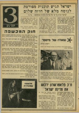 העולם הזה - גליון 2089 - 15 בספטמבר 1977 - עמוד 17   ישראל תגיש תוכנית מפורטת לנוסח מלא של חוזה שלום ישראל תהיה צד א׳ וכל מדינה ערבית שתחתום י— צד ב׳ לכתכנו המדיני נודע כי לקראת שיחות־הקירבה, שייערכו בקרוב