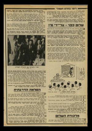 העולם הזה - גליון 2100 - 30 בנובמבר 1977 - עמוד 22 | אין ספק שעובדה זו לא נעלמה מעיניו של אל־סאדאת. … חיבוקו של סאדאת הוא, מבחינה מסויימת, חיבוק של דוב. … עתה תואמת עמדתו של אנוואר אל-סאדאת בדיוק את הקונסנזוס