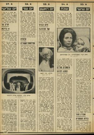 העולם הזה - גליון 2129 - 21 ביוני 1978 - עמוד 47   23. 6 שבת יום שי ש׳ • פטיכ אופטין החליט, כפי הנראה, לשתף בסרטיו את כל בני־מישפחתו. אחרי שבשבוע שעבר הופיעה אשתו־בחיים של לי מייג׳ורס, פא רה פוסט-מייגיורש, נסב