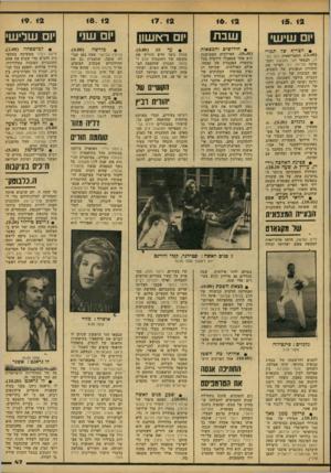 העולם הזה - גליון 2154 - 13 בדצמבר 1978 - עמוד 47   15. 12 יום שיש• • הצריף שד תמרי 3.00 התסריטאית ת ת כסלו׳ הבמאי חגי נזאוטנר והמ פיקה צלילה רוז הפיקו את היצירה הגאונית של השבוע, עם הבובות של אריק ממית. הגברת
