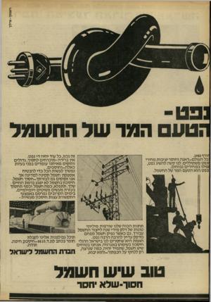 העולם הזה - גליון 2215 - 13 בפברואר 1980 - עמוד 16 | ;טע המר של החשמל זויף .1980 :כל העולם־דאגה וחוסר יציבות.מחירי זנפט משתוללים. לנו קשה להשיג נפט, *פילו במחירים גבוהים. זנפט הוא הטעם המר של החשמל. זה נכון, כל