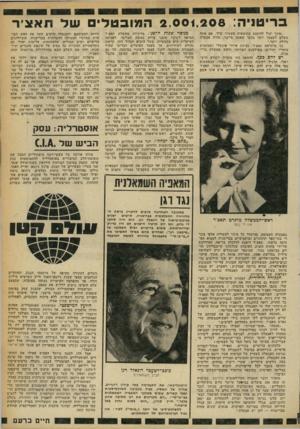 העולם הזה - גליון 2246 - 17 בספטמבר 1980 - עמוד 15 | בריטניה 2 , 0 0 1 , 2 0 8 :המובטל של תאצ׳ר ״אינך יכול להימנע מתוצאות מעשיך שלך. אם אתה משלם לעצמך יותר מכפי שאתה מייצר, תהיה אבטלה גדולה יותר.״ כך מרגראט