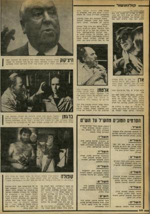העולם הזה - גליון 2247 - 23 בספטמבר 1980 - עמוד 60 | קודנוע שור (המשך מעמוד )59 אלטמן, הן בפיריון והן במעוף שלו. הוא עלה לגדולה עם שנות ה־ 70 ועם מאש, שעה שברקע כבר מסתמנים כמה במאים חדשים יותר בעלי אישיות חזקה