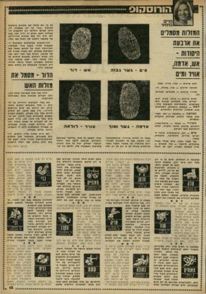 העולם הזה - גליון 2249 - 8 באוקטובר 1980 - עמוד 13 | מרים בנימיבי לט בו. אם למשל לבן מאזנים מופיעות טביעות ״אש״ על רוב אצבעות ידו, סימן שביום הולדתו רוב הכוכבים היו במזלות האש, ואדם זה יהיה יוצר, אמן ולא איש רוח