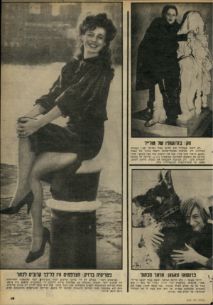 העולם הזה - גליון 2263 - 14 בינואר 1981 - עמוד 19 | זוק: בזרועותיו שר מזלייו ״לא ידעתי שמולייר היה כל־כך צעיר וכל־כך יפה,״ הצהירה הבדרנית זוק, שביקרה בקומדי־פרנסז וישבה בחיקו של הפסל. ״אמנם, הישווו אותי אליו,