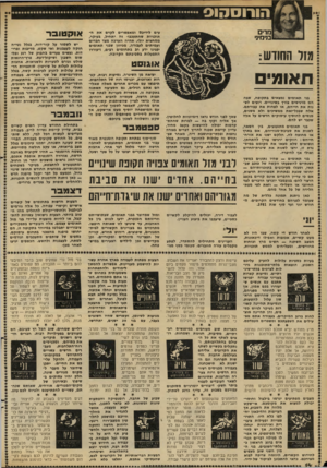 העולם הזה - גליון 2281 - 20 במאי 1981 - עמוד 14 | הורוסהוס מרים מימיני מזל החודש: תאומי בני תאומים נמצאים בתקופה, שבה הם מרגישים צורן בשינויים. רוצים לשנות את חייהם, או לפחות את עבודתם. אלה שבכל־זאת ממשיכים