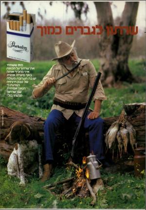 העולם הזה - גליון 2282 - 27 במאי 1981 - עמוד 19 | מץ וז ששמתי ץ ות ־שרתון על הכוונת ץ ויני מחליף ץ וותה בץ וף סיגריה ץ וחרת. יש ב ה תערובת מעולה של טבק וירגיניה הנותנת לי המיוה אמיתית. עם שרתון קלעתי