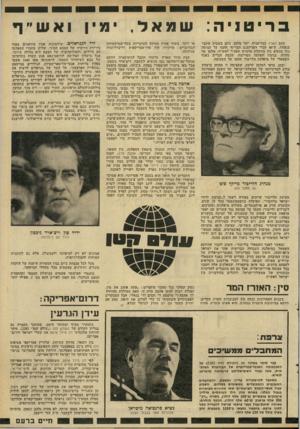 העולם הזה - גליון 2283 - 3 ביוני 1981 - עמוד 23 | בריטניה: כתב הארץ בבריטניה, יוסי מלמו, כתב בשבוע שעבר בגאווה, ש־ 40 חברי הפרלמנט הבריטי חתמו על עצומה נגד מגעים ביו ממשלת מרגרט תאצ׳ר לאש״ף. מלמן אף מדווח,