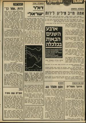 העולם הזה - גליון 2283 - 3 ביוני 1981 - עמוד 42 | במט״חאחד הבורסה דו ל ר אתה חייב מיליון לירות ישראל יום שני — :5.5 /כותרת השבוע :״אהרון לא צוין לדאוג; נשלם הוצאות המישפט.״ חוסר הדאגה יעלה כ־ 200 אלף דולר