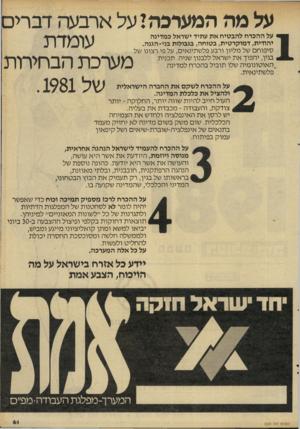העולם הזה - גליון 2283 - 3 ביוני 1981 - עמוד 61 | על מה המערכה! על ארבעה דברים עומדת מערכת הבחיתת של .1981 על ההכרח להבטיח את עתיד ישראל במדינה יהודית, דמוקרטית, בטוחה, בגבולות בני־הגנה. טיפוחם של מליון ורבע