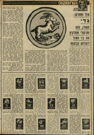 העולם הזה - גליון 2315 - 13 בינואר 1982 - עמוד 21   מדים מימיני מ1ל החודש: ג די סטורן, ונוס ומרקורי מחלקים את בני המזל לשלוש קבוצות במו בשאר המזלות, כן גם במזל גדי, אי״אפשר לצפות שבל בני המזל יהיו בעלי אופי