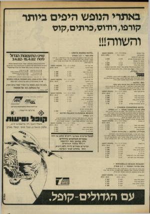 העולם הזה - גליון 2322 - 3 במרץ 1982 - עמוד 15 | באתרי הנופש היפים ביותר קורפו, רודוס,כרתים,קוס בתקופת המבצע בפסח 2.4-9.4 9.4-16.4 מ חי ר נבוצגלי ללא ארו חו ת רכב חמםל־ 5נו ס עי ם 5 424 מחיו לנו סע ננינ ג לו