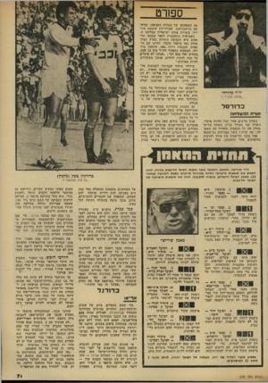 העולם הזה - גליון 2322 - 3 במרץ 1982 - עמוד 72   ספח־ט יו״ר מיזרחי ״אנחנו תלכיד !״ כ דו רסל תו רתו. הצדחה ניצחון מרשים אחד יכול להיות מיקרי. ניצחון שני מעורר עניין. ניצחון שלישי מסלק את כל הספקות ומעורר את