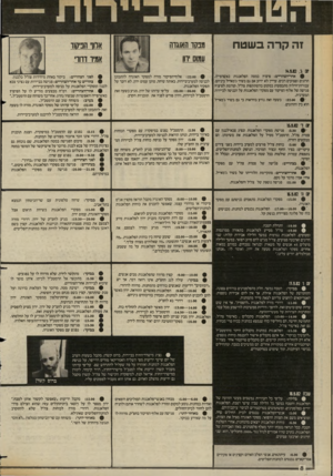 העולם הזה - גליון 2361 - 1 בדצמבר 1982 - עמוד 9 | זה קרה בשטח מכסו האוגדה עמוס ווו , * 14.942 ,1 0 #אחרשצדזריים: פיצוץ במטה הפלאנגות באשרפייה. הרוגים ופצועים רבים• עריץ לא ידוע אם גם בשיר ג׳מאייל ביניהם.