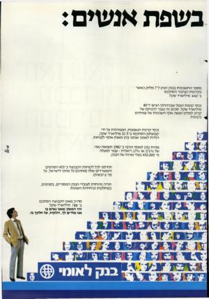 העולם הזה - גליון 2381 - 20 באפריל 1983 - עמוד 21 | נ שפת אגשים: מספר החשבונות בבנק הגיע ל־ 7מליון, כאשר פקדונות הציבור הסתכמו ב־ 440 מיליארד שקל. נכסי קופות הגמל שבניהולנו הגיעו ל־80 מיליארד שקל. סכום זה נצבר