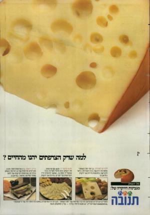 העולם הזה - גליון 2385 - 17 במאי 1983 - עמוד 20 | למה שדק הצרפתים יחנו מהחיים? להגיש לשולחן. גבינת ״טל העמק מתאימה להגשה בכל הצורות. כדאי להגישה בתוספת פירות או ירקות. בתיאבון! מגש קוקטייל.מגש עם פרוסות טל
