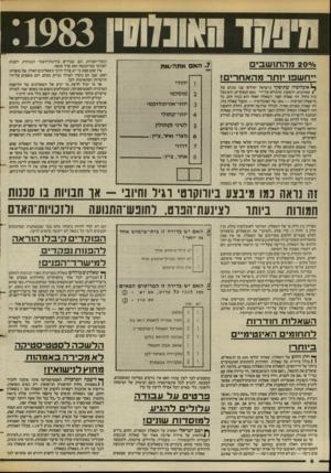 העולם הזה - גליון 2385 - 17 במאי 1983 - עמוד 7 | ס/ס 2 0מ ה תו שבי ם ייחשפו יותר מהא חרי ם! ^ אוכלוסיה שתיפקד בישראל יחולקו• שני סוגים של ) שאלונים. הראשון, שימולא על־ידי 80$הנפקדים, הוא בעל גוון כחול. זהו