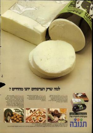 העולם הזה - גליון 2388 - 8 ביוני 1983 - עמוד 2 | מעדן ״פרומעז״ בגליל גבינת ״פרוטעז״ חורצים חריצים ברווחים אחידים. לתחבל חריץ מכניסים פרוסת מלפפון או צנונית. גבינת פרומעז וגבינת שמנת מתאימות למריחה על לחם או