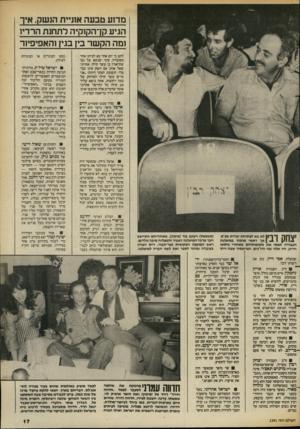 העולם הזה - גליון 2391 - 29 ביוני 1983 - עמוד 17   מדוע טבעה אוניית הנשק, איך הגיע קן־הקוקיה לתחנת הרדיו ומה הק שר בין בגין והאפיפיור להם כי יום אחד בא לביתו אחד מעובדיו, סיני שנשא על גבו שק־אורז בן עשר קילו.