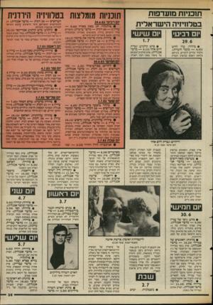 העולם הזה - גליון 2391 - 29 ביוני 1983 - עמוד 39 | תוכניות מועדפות בטלוויויה הישראלית תוכניות מומלצות בטלוויזיה הירדנית יום רביעי 29.6.83 • פולקלור: חג׳ מאזן מארח (— 9.40 ערוץ 30 — 3דקות — מדבר ערבית) .סיפורים