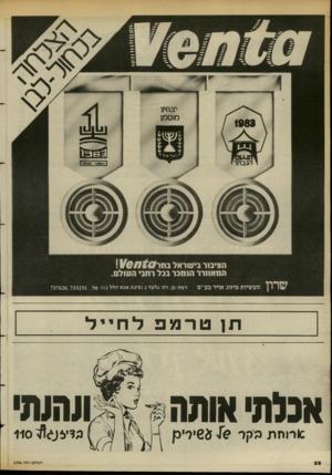 העולם הזה - גליון 2396 - 3 באוגוסט 1983 - עמוד 26 | הציבור בישראל\\1־ $ 0ח1/6 המאוורר הנמכר בבל רחב• העולם. תעשיות מיזוג אויר בע״מ רמת-גן, רח׳ גלעד ( 2פיגת אבא הלל ) 12 טל 737626,733251. . תן טרמפלחייל אכלתי